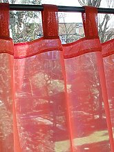 Just Contempo Tab Top Voile Panel, Red, 58x48