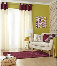 Just Contempo Velvet Band Lined Eyelet Curtains,