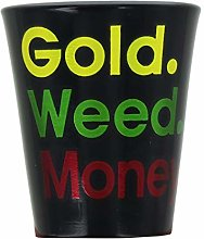 Just Funky Gold Color Weed Money Shot Glass,