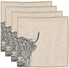 Just Slate - Set Of 4 Highland Cow Linen Place Mats