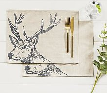 Just Slate - Set Of 4 Stag Linen Place Mats