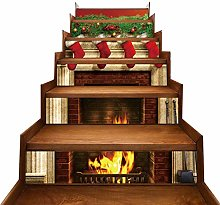 JUSTDOLIFE 6PCS Christmas Stair Sticker Fireplace