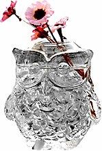 JUSTDOLIFE Glass Vase Decorative Crystal Owl Shape