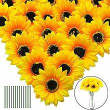JUSTIDEA Artificial Sunflower Heads 24pcs Silk
