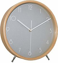 JUSTUP 8 Inch Wood Table Clock, Silent Non-Ticking