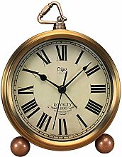 JUSTUP Golden Table Clock, Retro Vintage Silent
