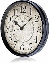 JUSTUP Retro Wall Clock,12in Silent Non-Ticking
