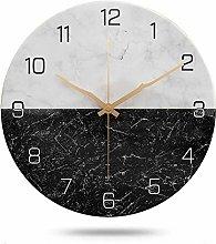 JUSTUP Silent Wall Clock,12 Inch Marble Wall Clock