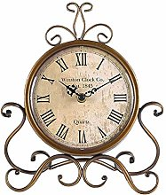 Justup Vintage Table Clock, Silent Iron European