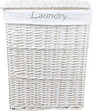 Jvl 52cm White Rectangular Linen Basket 45x32x57 cm