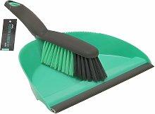 JVL Dustpan and Bristle Brush Set, Turquoise