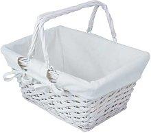 JVL White Split Willow Shopping Storage Basket