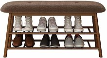 JXJ Natural Bamboo Shoe Cabinet Bench Two-tier
