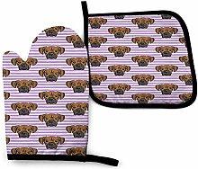 Jxrodekz Boxers On Purple Stripes Dog Kitchen Oven