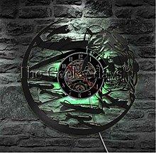 jxu Skeleton Aviator Wall Clock Vinyl Clock Skull