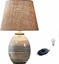 JXXU Striped Ceramic Modern Table Lamp Linen Drum