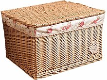 JY Kitchen Bedroom Wicker Willow Basket with a Lid