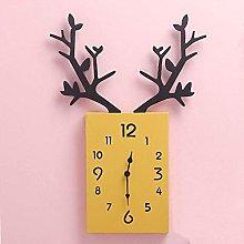 JYDD Wall Clock Wooden Antler Silent Battery