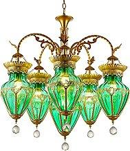 JYDQM Chandeliers,Color Glass E27 Chandelier,Bar