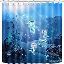 JYEJYRTEJ Blue seabed transparent jellyfish