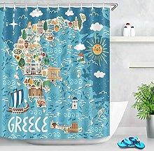 JYEJYRTEJ Stylized map Decorative shower curtain