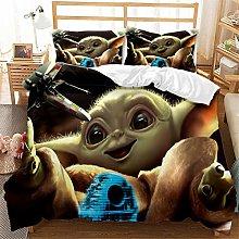 JYHTK Baby Yoda Pattern Bedding Duvet Cover Set 3