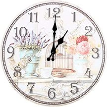 JZDH Wall Clock Floral Vintage Shabby Chic Style