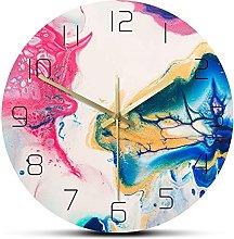 JZDH Wall Clock Fluid Art Dazzling Abstract Wall