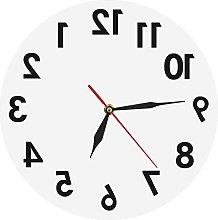 JZDH Wall Clock Reverse Wall Clock Unusual Numbers