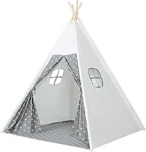 JZJZ Teepee Tent Kids Play Tent, With Wood Poles &