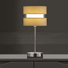K LIVING Chrome Table Lamp with Layer Fabric Shade