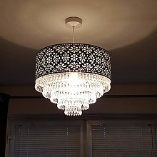 K LIVING Easy Fit Chrome Cutout Pendant Shade with