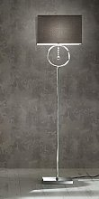 K LIVING LIZZY CHROME SILVER FLOOR LAMP WITH GREY