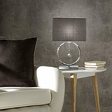 K LIVING LIZZY CHROME SILVER TABLE LAMP WITH GREY