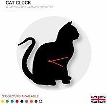 K&M Cat Shaped Clock Acrylic Modern Home Decor