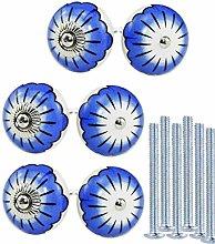 KaiKBax Flower Round Ceramic Knobs Door Pulls -