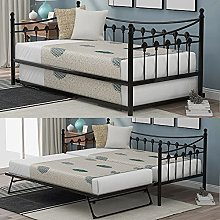 KAISAN Metal Daybed With Under Bed Trundle, 3ft
