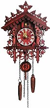 KAIXIN Hand Carved Wall Cuckoo Clock with Pendulum