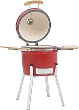 Kamado Barbecue Grill Smoker Ceramic 81 cm - Red -