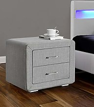 Kamco Direct Light Grey Linen Fabric Bedside Table