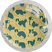 KAMEARI Round Cabinet Knob Border Collie Pattern