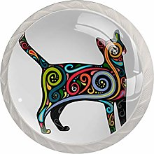 KAMEARI Round Cabinet Knob Cat with Colorful Body