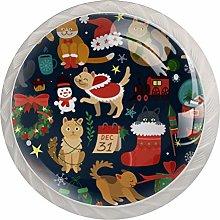 KAMEARI Round Cabinet Knob Christmas Cats Set of 4