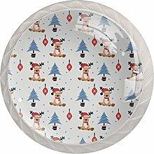 KAMEARI Round Cabinet Knob Christmas Raindeer with