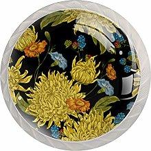 KAMEARI Round Cabinet Knob Chrysanthemums Set of 4