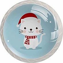 KAMEARI Round Cabinet Knob Cute Cartoon Cat Set of