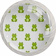 KAMEARI Round Cabinet Knob Cute Green Frog Set of 4