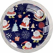 KAMEARI Round Cabinet Knob Cute Santa Set of 4