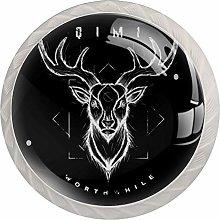 KAMEARI Round Cabinet Knob Deer Wildanimal Set of 4