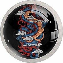 KAMEARI Round Cabinet Knob Dragon Cloud Set of 4